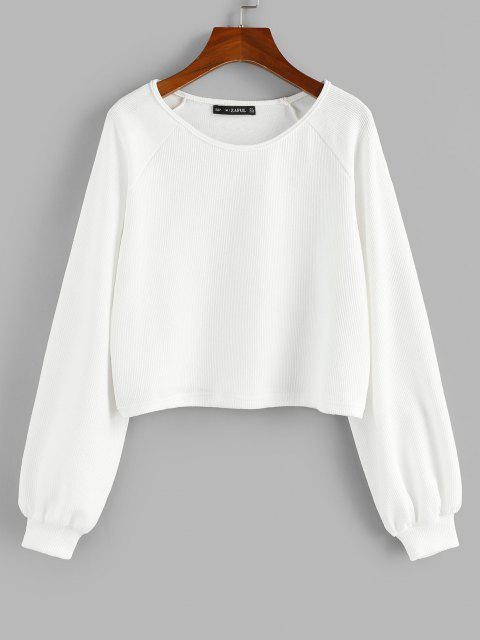 womens ZAFUL Raglan Sleeve Marled Pullover Sweatshirt - WHITE XL Mobile