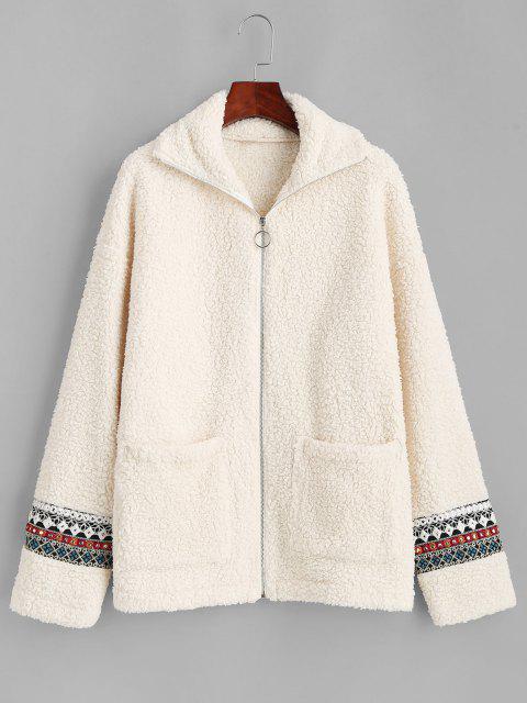 ZAFUL Faux Fur Tribal Embellishment  Teddy Coat - ضوء الكاكي M Mobile