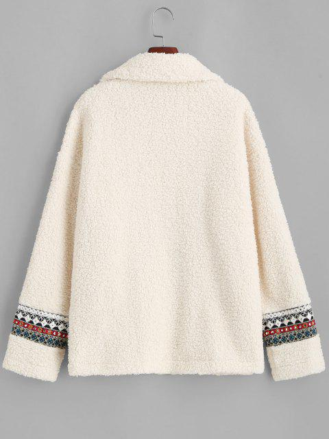 ZAFUL Faux Fur Tribal Embellishment  Teddy Coat - ضوء الكاكي L Mobile