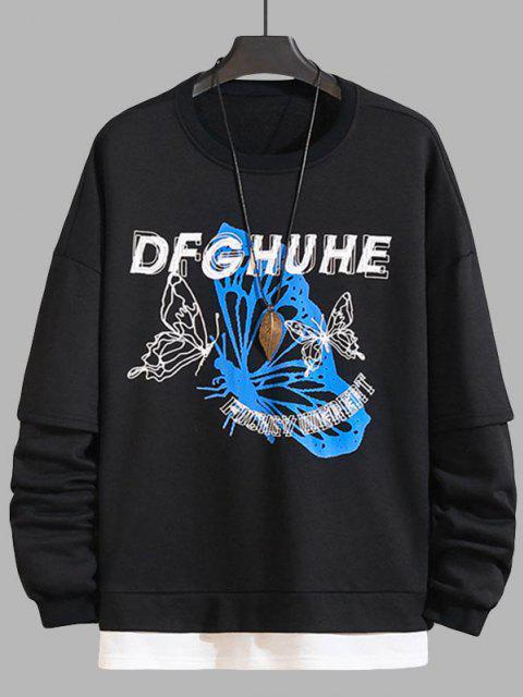 women's Letter Butterfly Colorblock Faux Twinset Sweatshirt - BLACK L Mobile