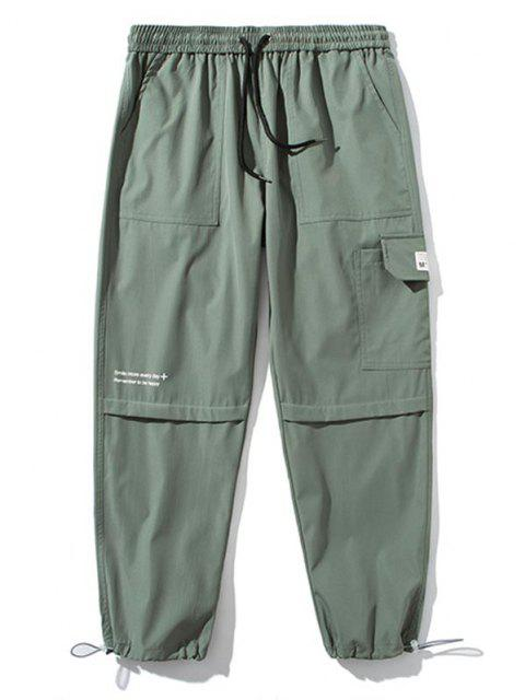 Pantalones de Carga con Detalle de Aplique con Estampado de Texto - Ejercito Verde S Mobile