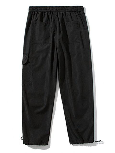 Pantalones de Carga con Detalle de Aplique con Estampado de Texto - Negro L Mobile