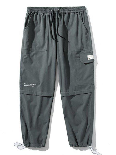 Pantalones de Carga con Detalle de Aplique con Estampado de Texto - Gris Oscuro S Mobile