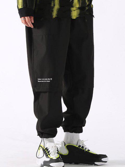 Pantalones de Carga con Detalle de Aplique con Estampado de Texto - Negro XL Mobile