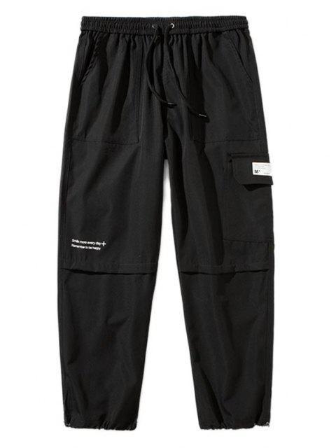 Pantalones de Carga con Detalle de Aplique con Estampado de Texto - Negro XS Mobile
