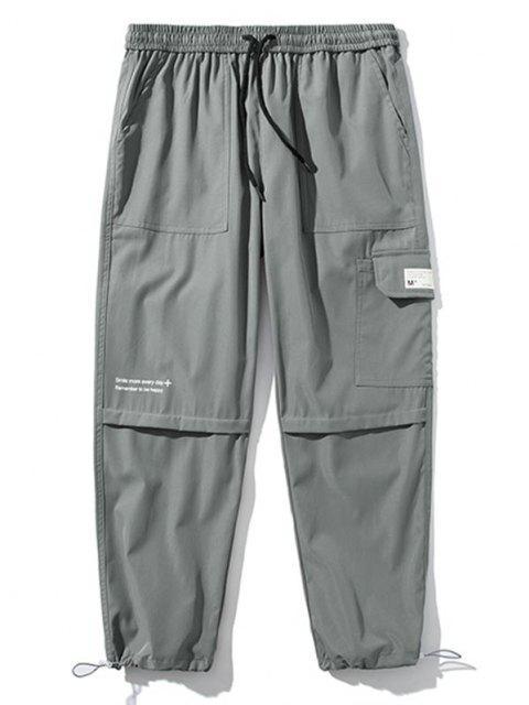 Pantalones de Carga con Detalle de Aplique con Estampado de Texto - Gris Claro S Mobile