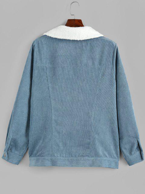 chic Plus Size Faux Fur Collar Corduroy Pocket Coat - DENIM BLUE L Mobile