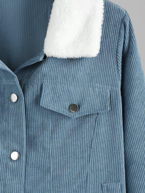 Manteau en Velours Côtelé à Col en Fausse Fourrure Grande Taille avec Poche - Bleu Toile de Jean 1X Mobile