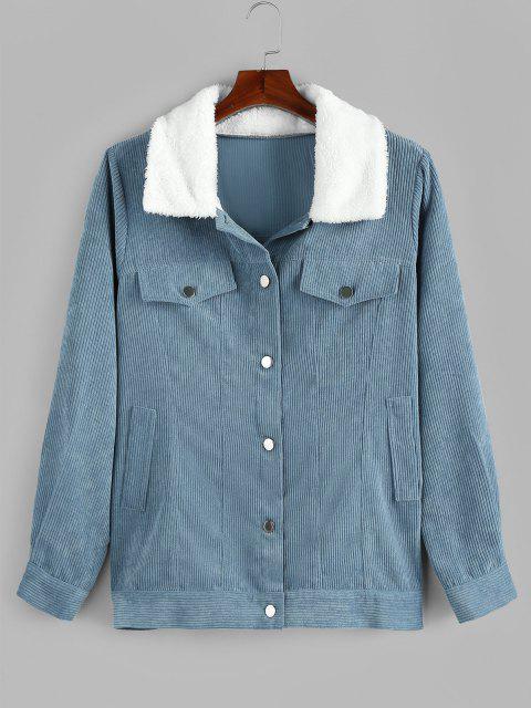 Manteau en Velours Côtelé à Col en Fausse Fourrure Grande Taille avec Poche - Bleu Toile de Jean 5X Mobile