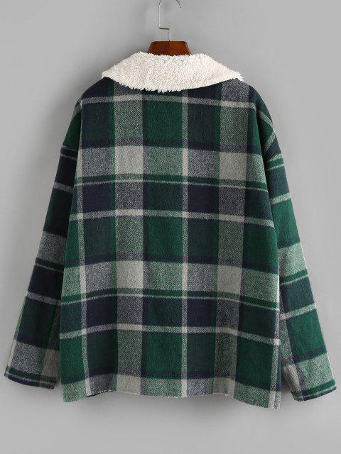 ZAFUL Plaid Drop Shoulder Faux Shearling Lined Coat - ديب غرين L Mobile