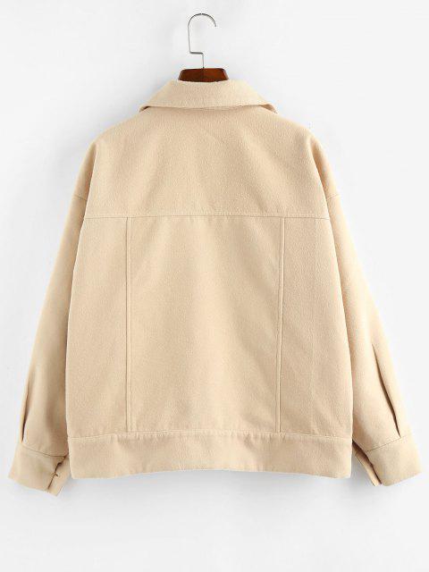 ZAFUL Pockets Drop Shoulder Woolen Jacket - خوخ L Mobile