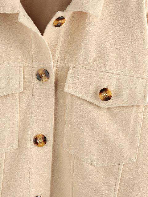trendy ZAFUL Pockets Drop Shoulder Woolen Jacket - PEACH S Mobile