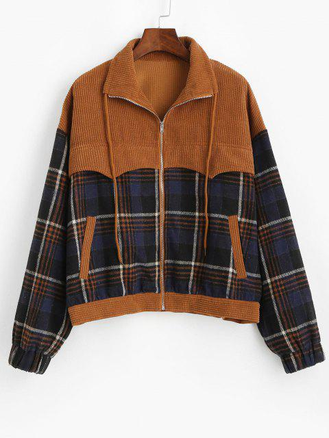 online ZAFUL Patchwork Plaid Corduroy Jacket - COFFEE S Mobile