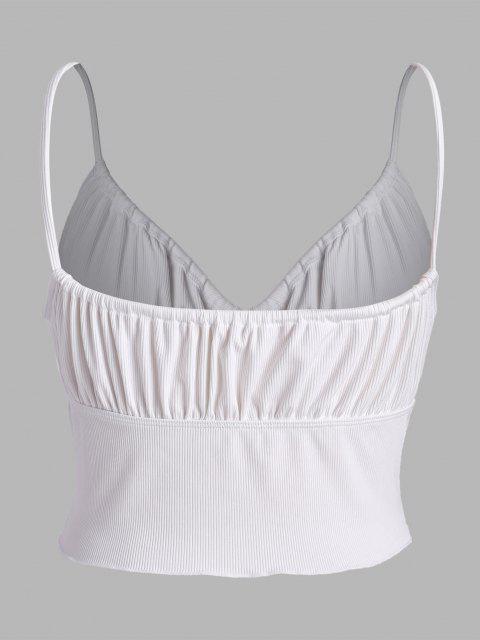 online ZAFUL Plus Size Ribbed Tie Lettuce-trim Bustier Bikini Top - WHITE XXXL Mobile