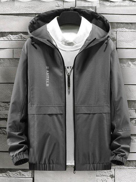 shops Heart Like Sunshine Print Zip Up Hooded Jacket - GRAY XS Mobile