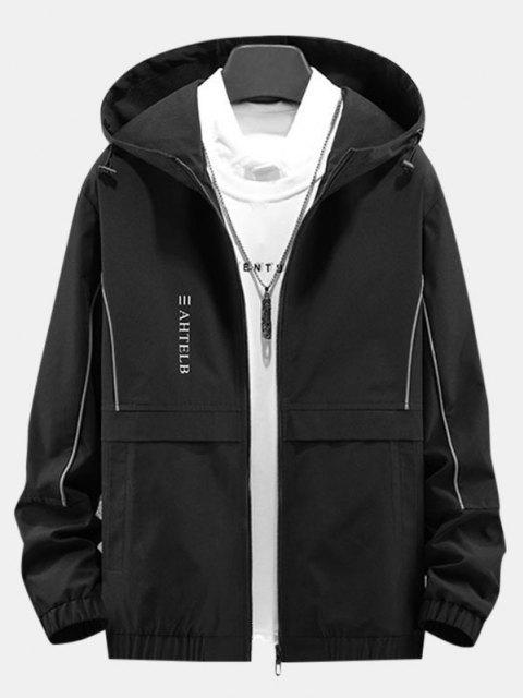 Veste à Capuche avec Fermeture Éclair et à Imprimé Cœur et Rayon de Soleil - Noir XS Mobile