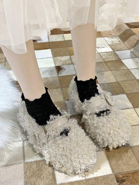trendy Buckle Strap Teddy Faux Fur Flat Shoes - BEIGE EU 39 Mobile