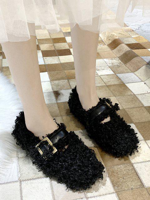 chic Buckle Strap Teddy Faux Fur Flat Shoes - BLACK EU 37 Mobile