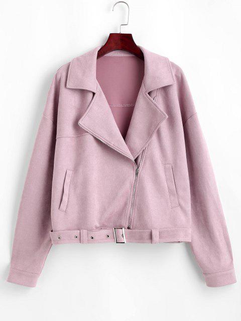 ZAFUL Zip Up Belted Faux Suede Jacket - أحمر الشفاه الوردي M Mobile