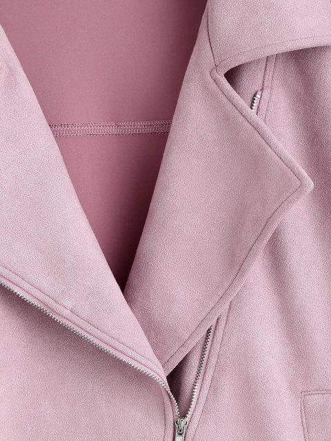 women's ZAFUL Zip Up Belted Faux Suede Jacket - LIPSTICK PINK S Mobile