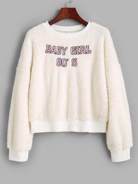 Crew Neck Fluffy BABY GIRL Embroidered Sweatshirt - أبيض M Mobile
