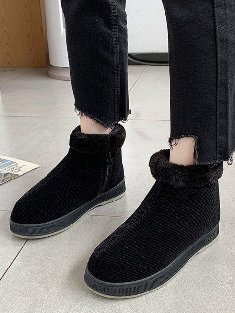 ladies Inner Fleece Flat Heel Snow Boots - BLACK EU 41 Mobile
