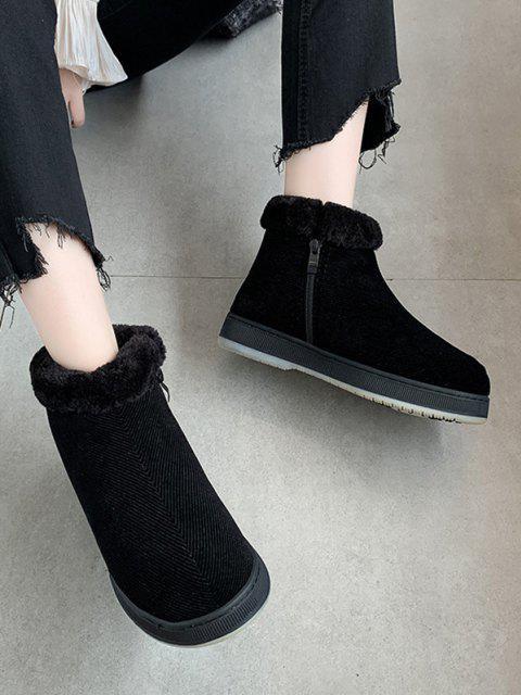 shops Inner Fleece Flat Heel Snow Boots - BLACK EU 37 Mobile