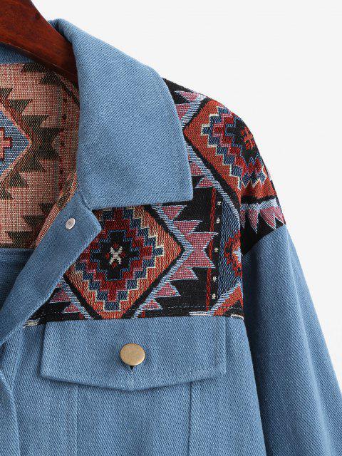 ZAFUL Veste Tribale Jointive en Denim - Bleu profond XL Mobile
