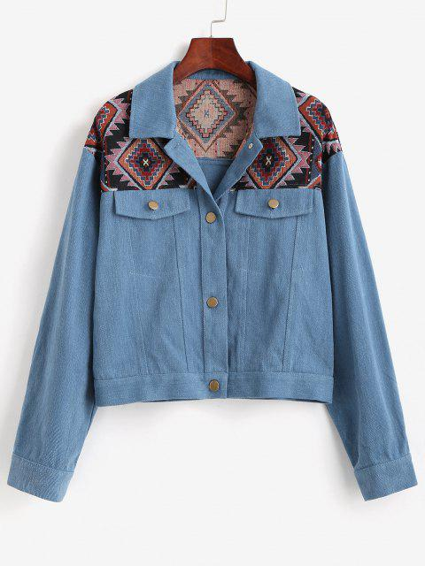 women ZAFUL Patchwork Tribal Denim Jacket - DEEP BLUE L Mobile