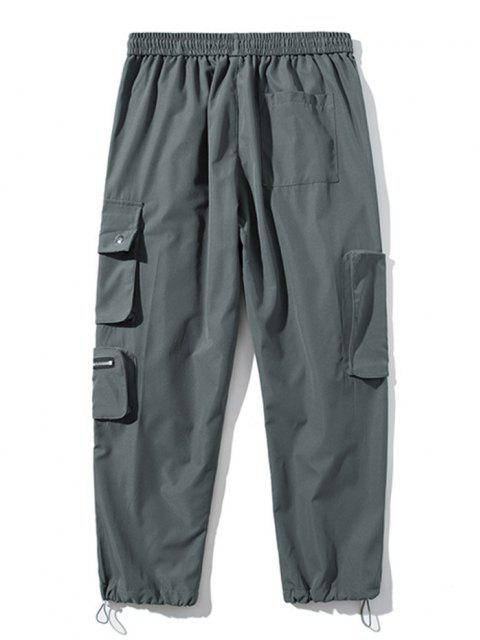 Pantalones de Carga con Bolsillo de Pecho con Cordón - Gris Oscuro S Mobile