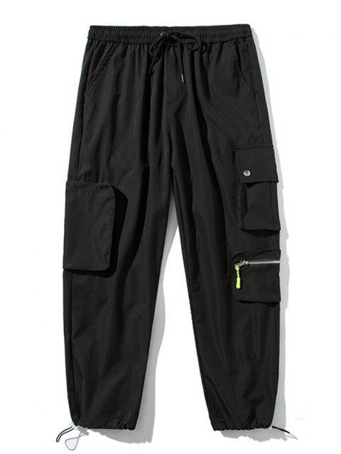 Pantaloni Cargo con Coulisse e Tasca Multifunzionale - Nero XL Mobile