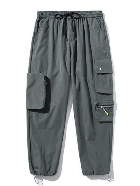 Pantalones de Carga con Bolsillo de Pecho con Cordón - Gris Oscuro M Mobile
