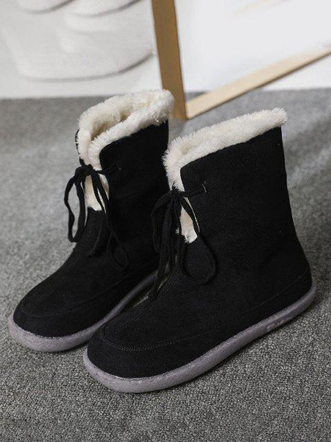 fancy Lace Up Fluffy Snow Boots - BLACK EU 41 Mobile
