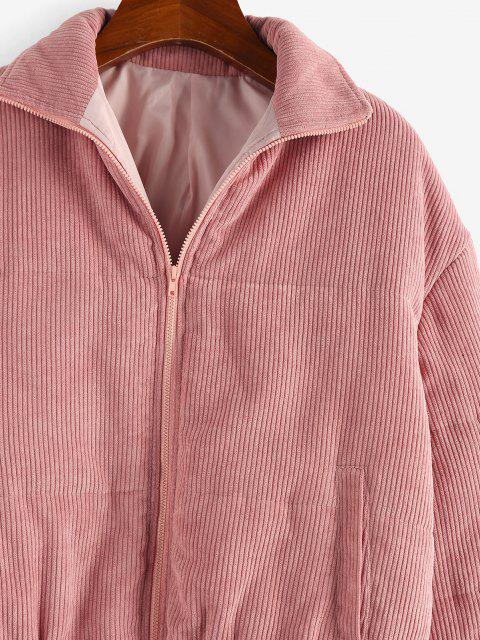 latest ZAFUL Corduroy Quilted Zipper Coat - DEEP PINK S Mobile