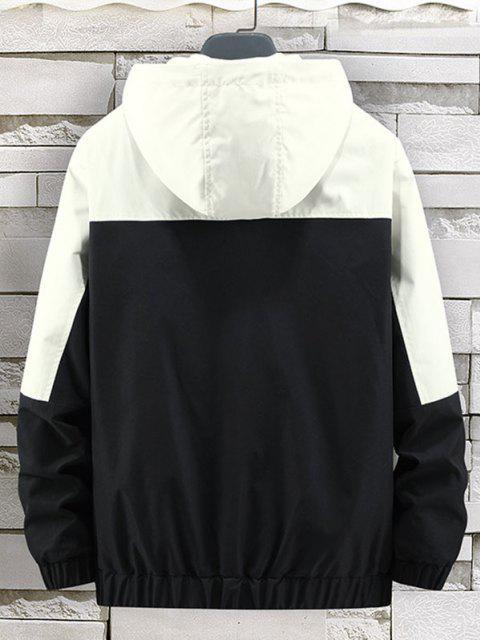 fashion Colorblock Panel Letter Hooded Jacket - BLACK L Mobile