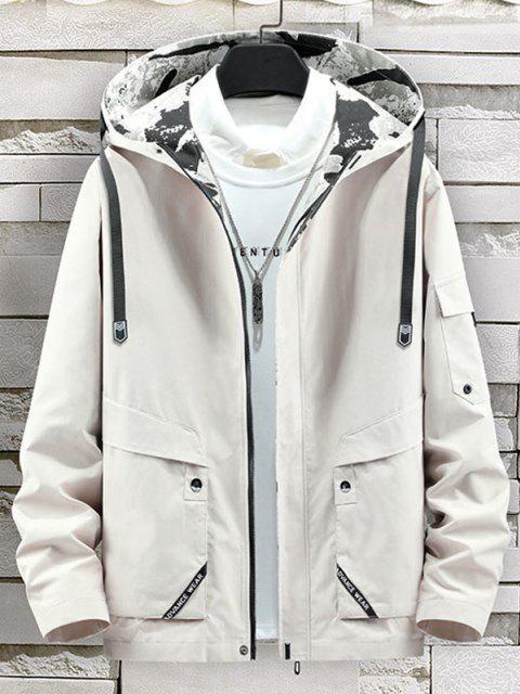 online Letter Print Back Slit Hooded Jacket - BEIGE L Mobile