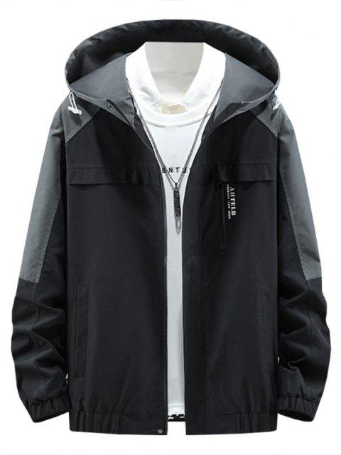 Colorblock Panel Letter Hooded Jacket - اللون الرمادي M Mobile