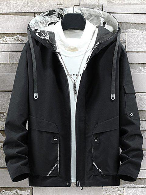 new Letter Print Back Slit Hooded Jacket - BLACK L Mobile