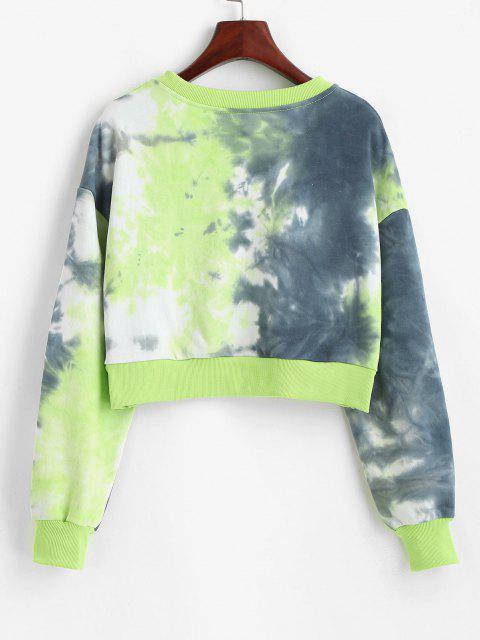 Tie Dye Drop Shoulder Ribbed Hem Sweatshirt - أخضر L Mobile