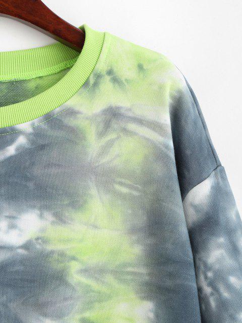 Sweatshirt Teinté à Goutte Epaule à Ourlet Côtelé - Vert S Mobile