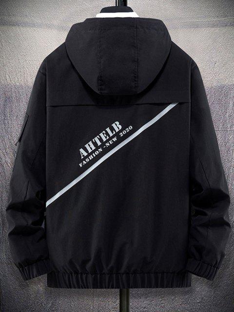 Letter Print Flap Pocket Zip Up Hooded Jacket - أسود XL Mobile