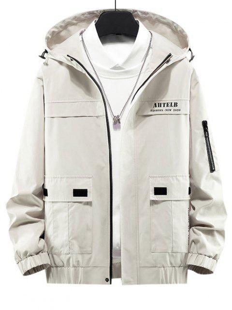 women Letter Print Flap Pocket Zip Up Hooded Jacket - BEIGE M Mobile
