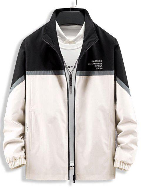 outfit Colorblock Reflective Panel Zip Up Jacket - BLACK XS Mobile