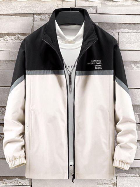 women Colorblock Reflective Panel Zip Up Jacket - BLACK L Mobile