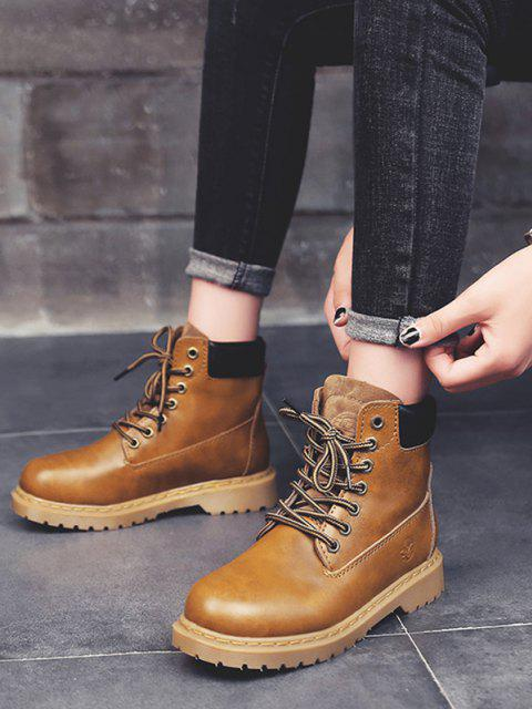 online Lace-up Closure Faux Leather Ankle Boots - LIGHT COFFEE EU 39 Mobile