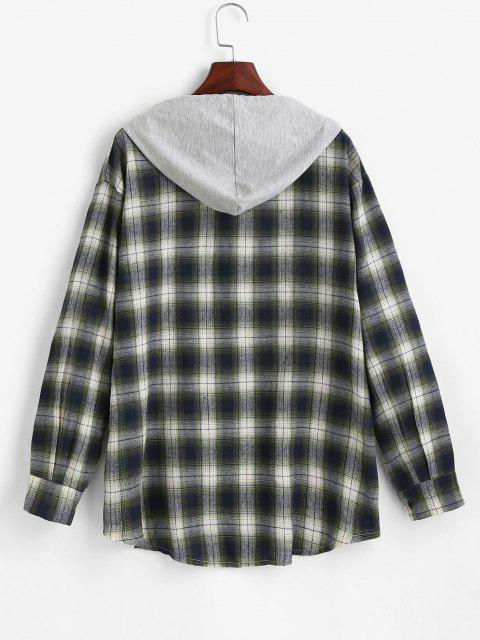 outfits Hooded Checked Front Pocket Jacket - GREEN M Mobile