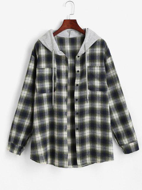 women's Hooded Checked Front Pocket Jacket - GREEN L Mobile