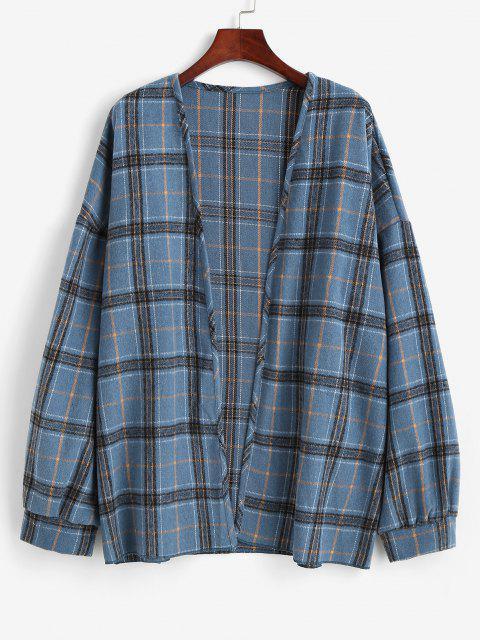 hot Plaid Drop Shoulder Open Front Coat - BLUE KOI L Mobile