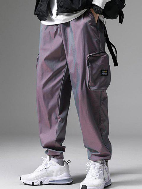 Applique Detail Seitliche Taschen Cargo Hose - Lila S Mobile