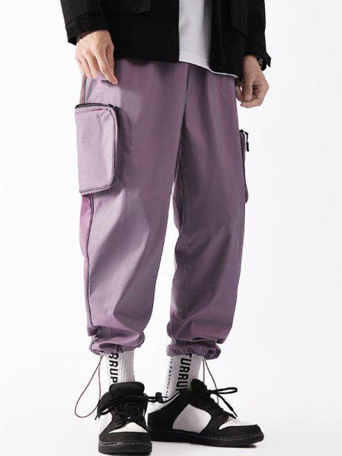 shop Applique Detail Side Pockets Cargo Pants - PURPLE M Mobile